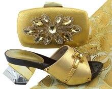 c5e1f534 Último Color del oro zapatos italianos con los bolsos que emparejan zapato  y bolso fijados para