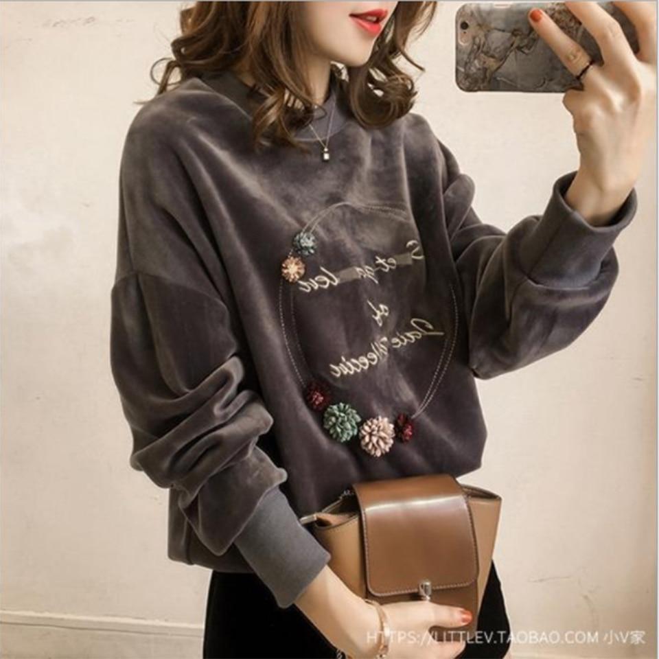 Aikooki Velvet Hoodie Sweatshirt Women Autumn Winter Letter print Embroidery Velour Casual Vintage Elegant Long sleeve Lady Coat