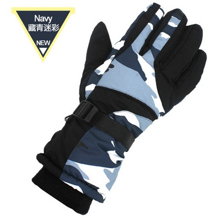 Mens navy camouflage ski gloves male five finger cycling mountaineering skiing gloves winter sports gloves snowboarding gloves