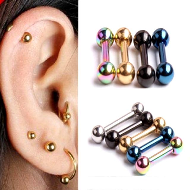 2pcs Lot Anium Steel Ear Studs Earrings Women Piercing Bone Tragus Earring Cartilage Barbell