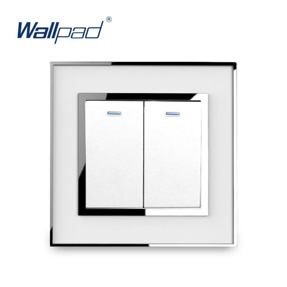 все цены на 2 Gang 1 Way Light Switch Luxury Acrylic Panel With Silver Border Wallpad Push Button Mirror Panel Wall Switch 16A AC110-250V онлайн