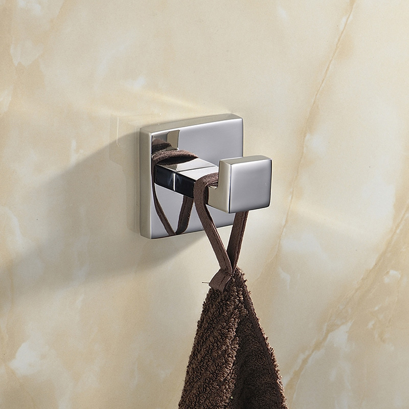 Modern Bathroom Robe Hooks Frame Square European Coat Hooks 304 Towel Hangers Polish Finished Bathroom Shelf european gold polish