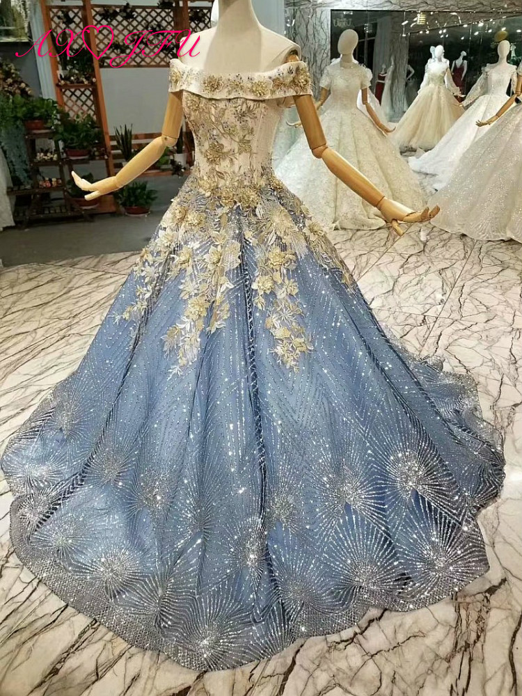 AXJFU Luxury princess blue lace evening dress vintage golden flower boat neck beading evening dress 100% real photo 041748