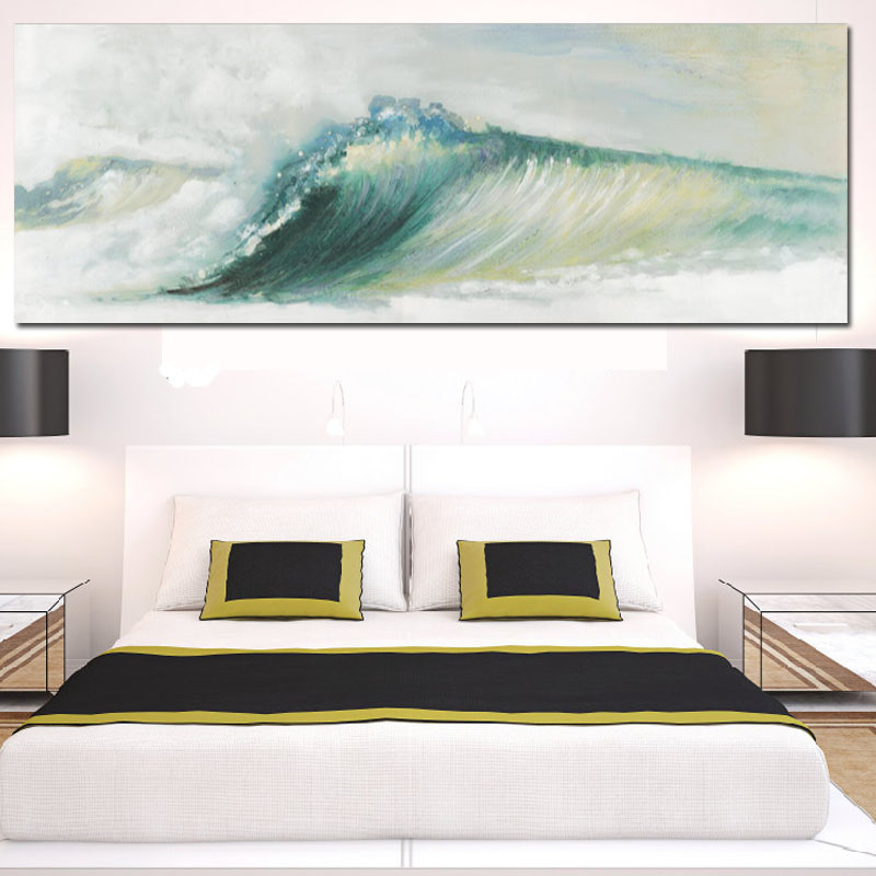 Abstract Ocean Waves Seascape Canva Painting Traditional Art Scenery Wallpaper Modern Wall Picture Poster For Living Room