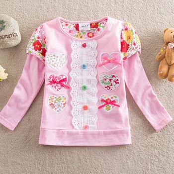 VIKITA Kids T shirt for Girls Girls Flower t-shirt Long Sleeve Tops Girls T Shirt Children Clothing Autumn Winter Kids Wear 1