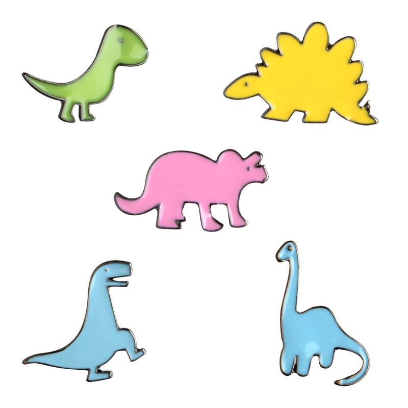 5 pcs / set Colorful Seri Dinosaurus Kecil yang Lucu Bros Pins Set - Perhiasan fashion - Foto 1