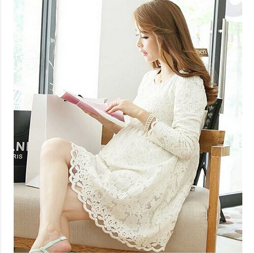 2015 New Fashion High Quality Lace Dress for Pregnant Women Long Sleeve Maternity Dress for Pregnancy Plus Size Clothes