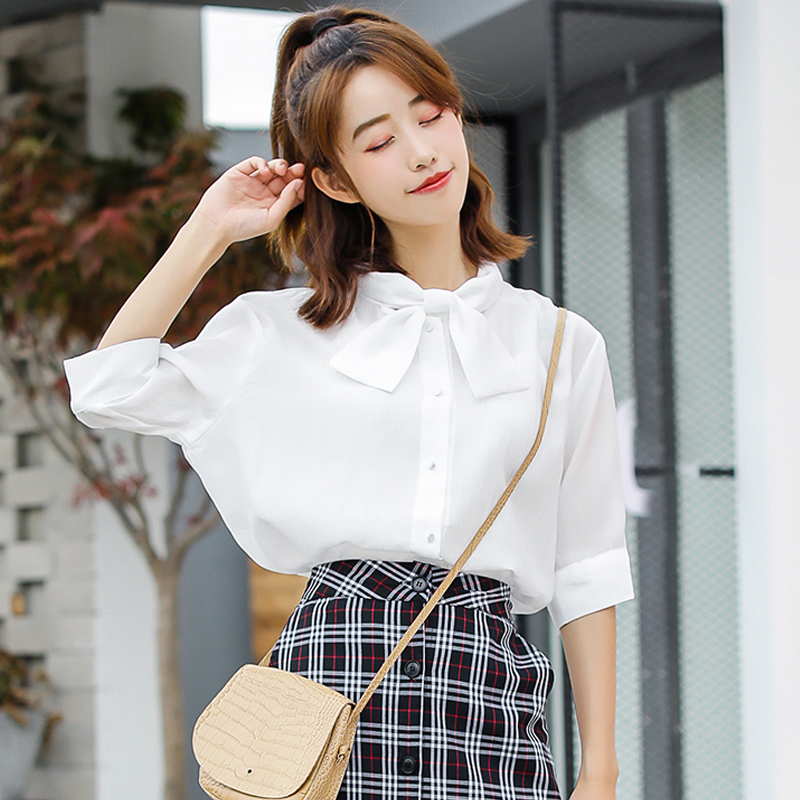 Youg Blusas Real Solid Zanzea 2018 Summer New Fresh Stand Collar Regular Sleeve Shirt Female Loose Blouses Office Lady Cloth