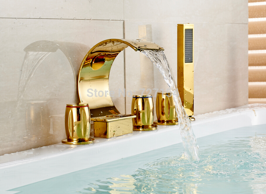 Free shipping! New Golden Brass Bathroom Tub Faucet Deck Mounted Sink Mixer Tap Waterfall Spout waterfall spout chrome brass bathroom tub faucet 3 pcs sink mixer tap