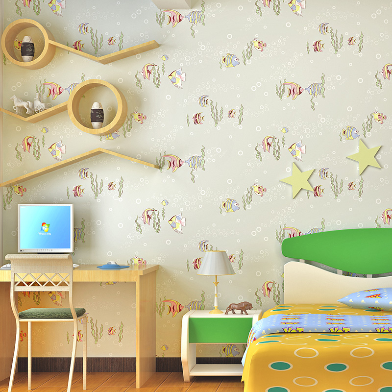 Eco-friendly Pure Paper Child Wallpaper Roll Pink Wall Paper for Girl's Bedroom Cartoon 3D Fish Wallpapers Sea World Underwater