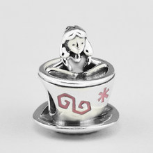 Fandola 925 Sterling Silver Beads for Jewelry Making Alice in Wonderland Teacup Charm for Women DIY Fits Bracelet F581(China)