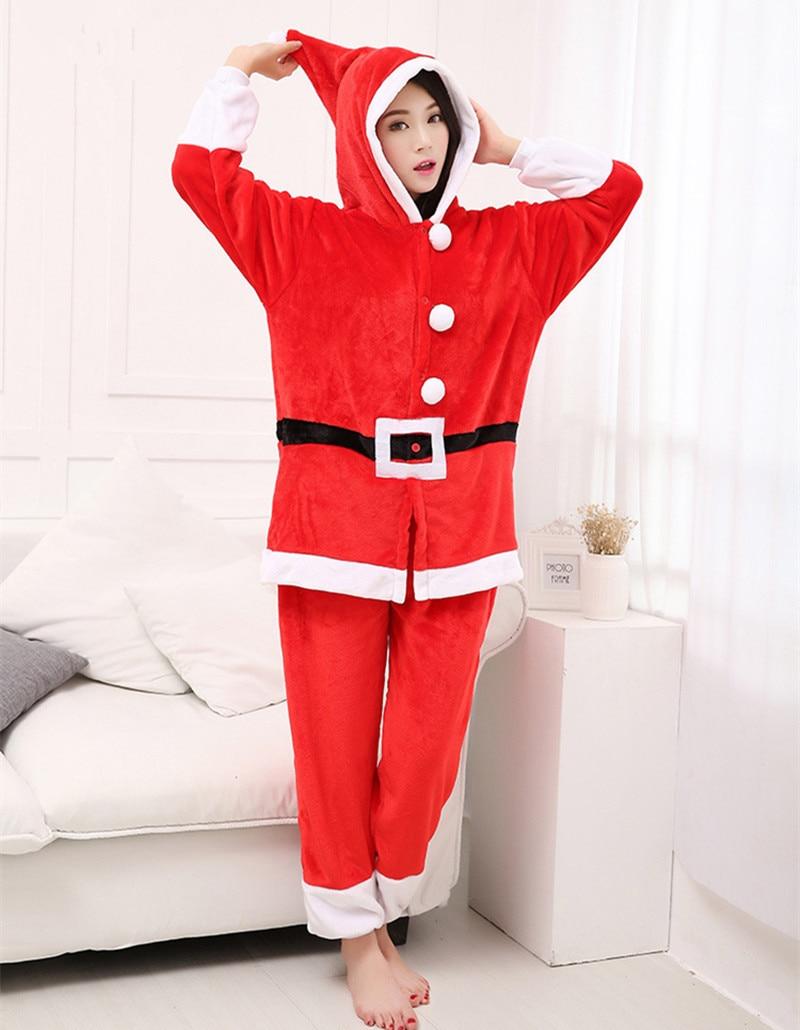 Christmas Jumpsuit Pajamas.Us 24 67 25 Off Polar Fleece Kigurumi Christmas Santa Claus Adult Cosplay Costume Unisex Onesies Pajamas Jumpsuit For Halloween Christmas Party In