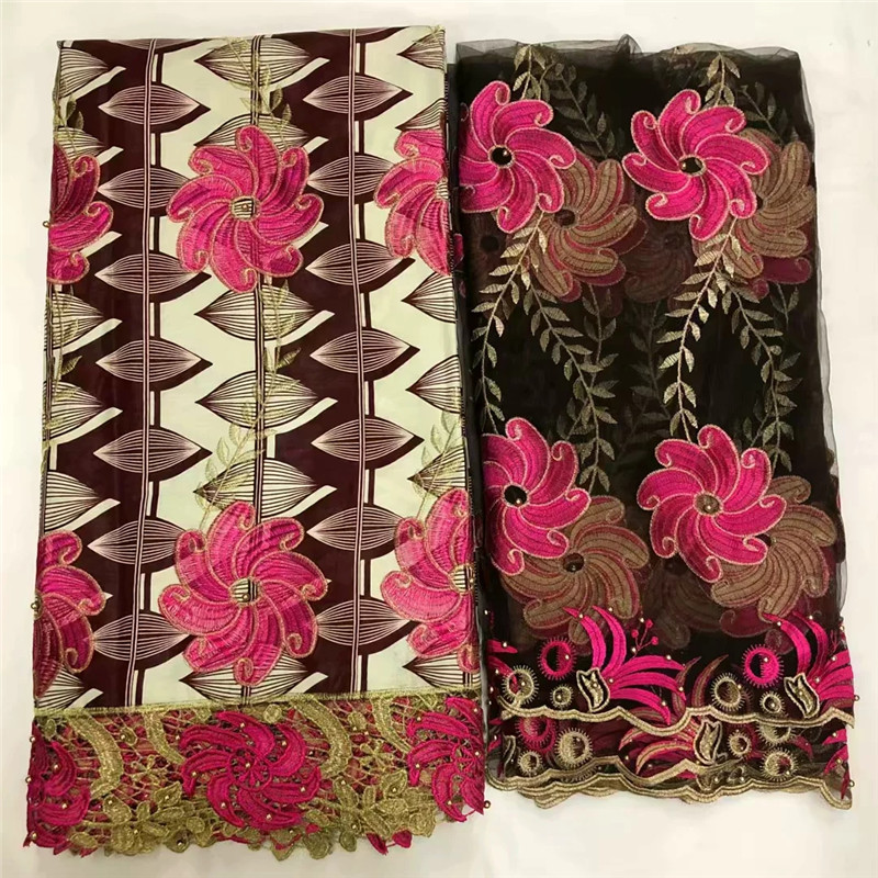 African Wax Lace Fabrics 6 Yards 100% Cotton Guipure Lace African Ankara Wax Fabric With Embroidered For Party Dress XM102605African Wax Lace Fabrics 6 Yards 100% Cotton Guipure Lace African Ankara Wax Fabric With Embroidered For Party Dress XM102605