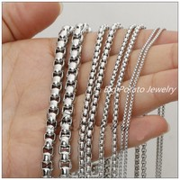 5 10Meter Wholesale Hot Fashion DIY Jewelry Tone Box Chain 316L Stainless Steel Silver Mens Womens