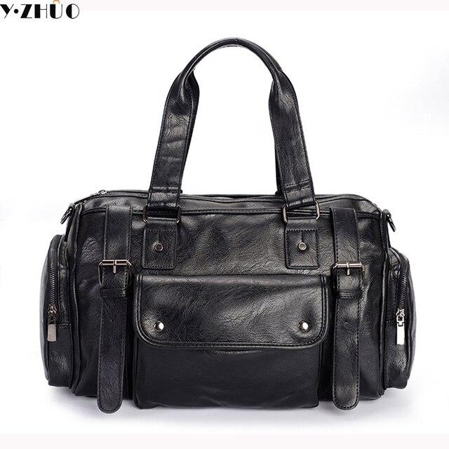 high quality leather men travel bag waterproof duffel bag men messenger bags men crossbody shoulder bag handbags tote black