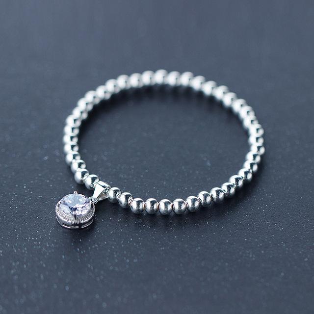 Genuine 925 Prata Esterlina Contas Polonês redonda Ligada com CZ Rodada Cadeia pulseira ajustável jóias finas LS105