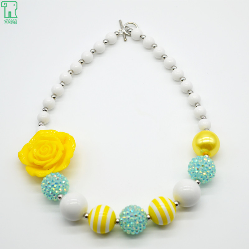 Kids Chunky Bubblegum Beads Necklace Girl Yellow Rose Flowers