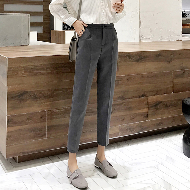 BGTEEVER Office Ladies Gray Women Pencil Pant High Waist Work Business Trousers Casual Female Pants Pantalones Mujer 2019 Spring