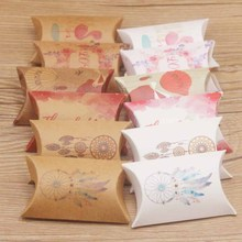 20pc new arrival multi design gifts pillow box DIy paper Thank you/flower styles Marbel/Dreamcatcher party bag