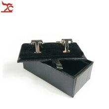Free Shipping High Quality 60Pcs Mens Luxury Leather Cufflinks Storage Organizer Gift Box Case Black CuffLink Display Holder Box