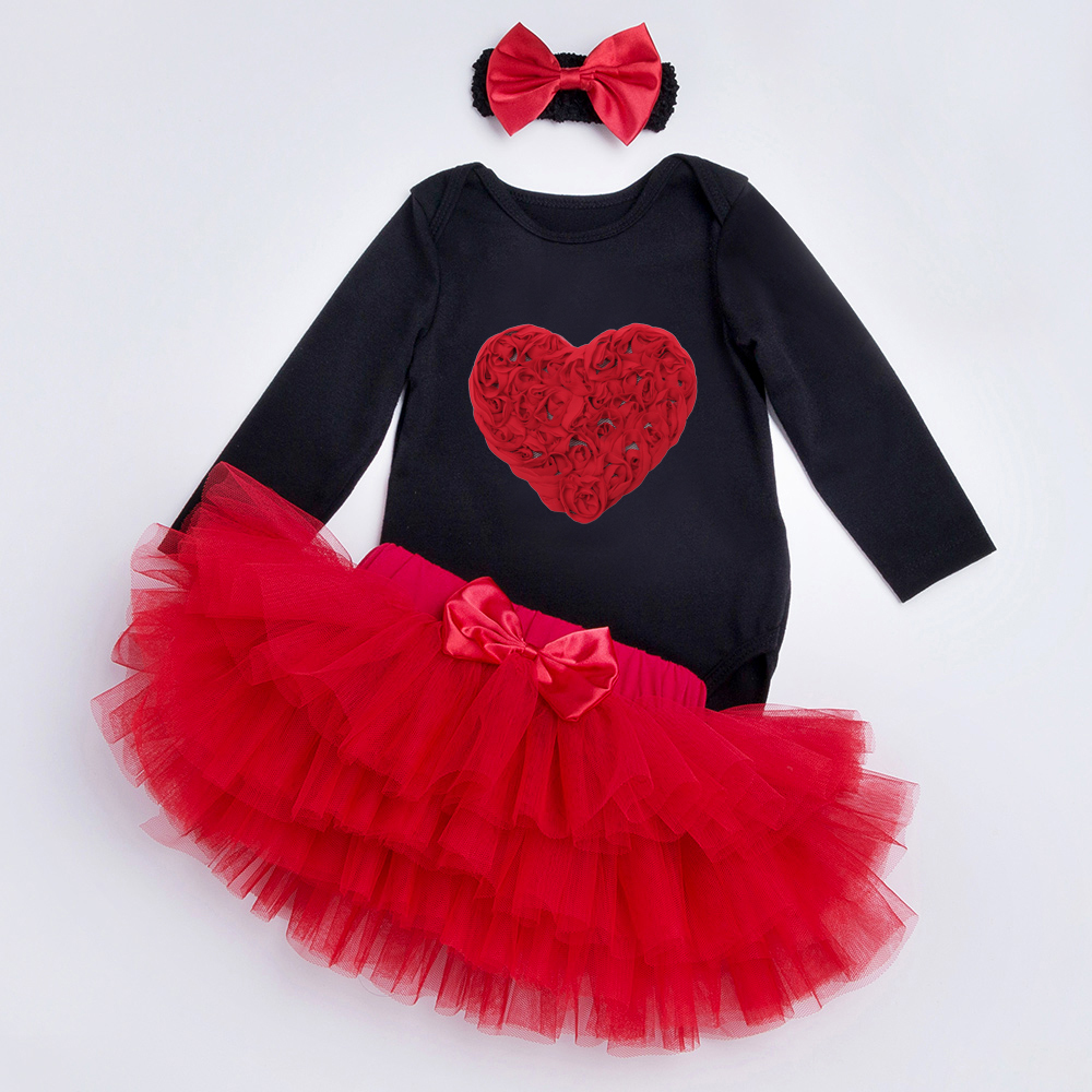 Festival Baby Clothing Set Red Love Black Baby Pagliaccetti 4 strati tutu Gonna Dot Headband Cute Girls San Valentino Arco archetto