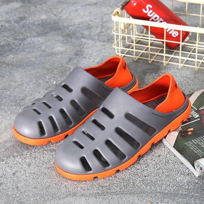 MWSC новые летние разноцветные Для мужчин пляжные сандалии Обувь выдалбливают дышащий Водонепроницаемый Slip-On водонепроницаемая обувь