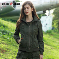 2017 Casual Long Sleeve Militar Coat Women Solid Color Army Green Military Jackets Slim Women Jacket