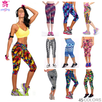 Ship From US 2015 Yomsong Floral Printing Capris Leggings Lady S Fitness Workout Casual Stretced Pants
