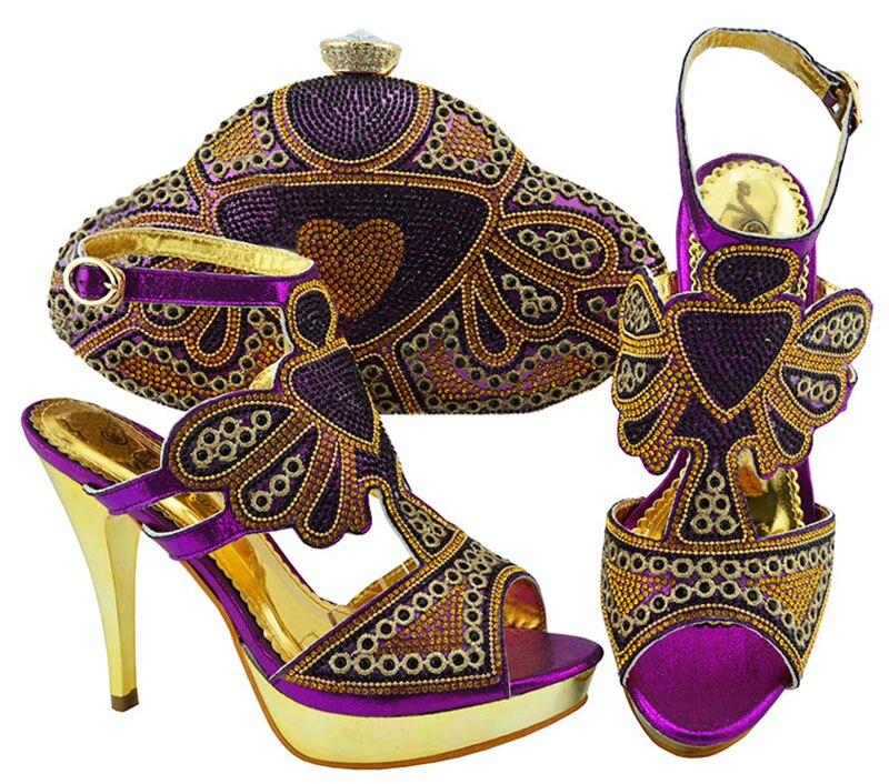 Latest purple buckle sandal shoes and purse bag set with rhinestones JZC004 heel height 11.5cmLatest purple buckle sandal shoes and purse bag set with rhinestones JZC004 heel height 11.5cm