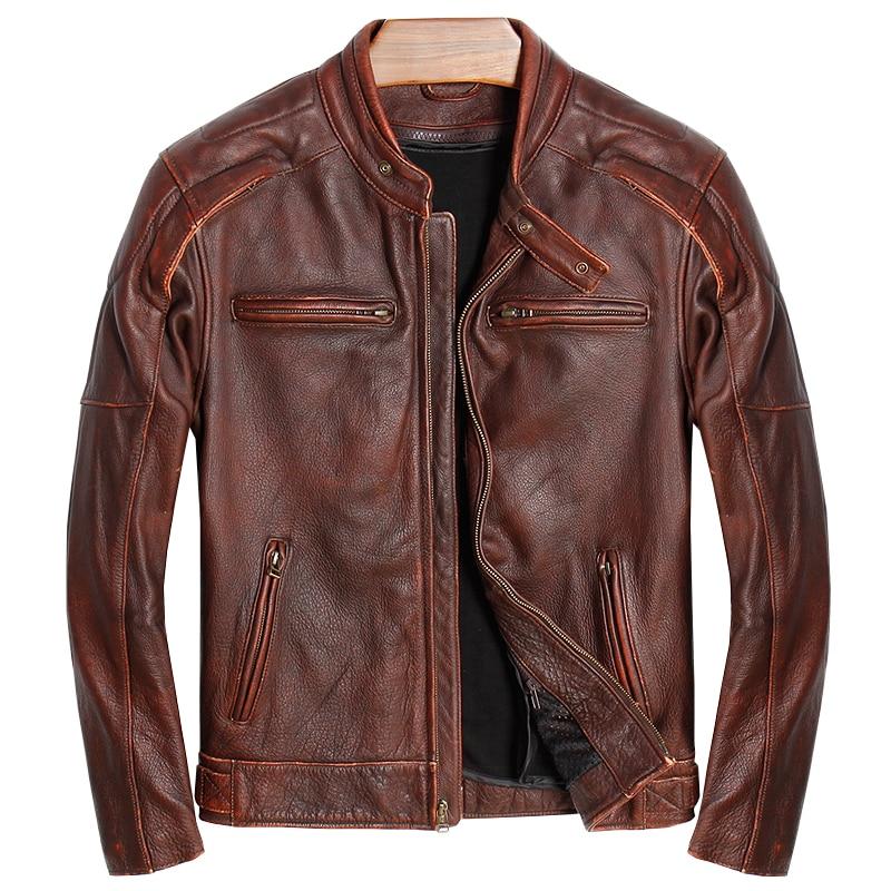 HARLEY DAMSON Vintage Bruin Russische Mannen Echt Biker's Leather Jacket Plus Size 5XL Dikke Koeienhuid Slim Fit Riding Lederen jas-in Echt ledere jassen van Mannenkleding op  Groep 1
