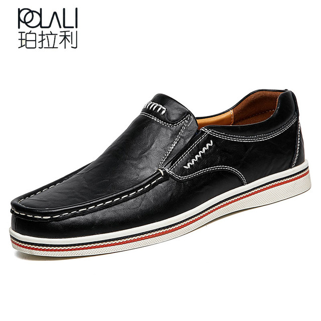 d61015a89e35d POLALI big size 38-47 slip on casual men loafers spring and autumn mens  moccasins shoes genuine leather men's flats shoes