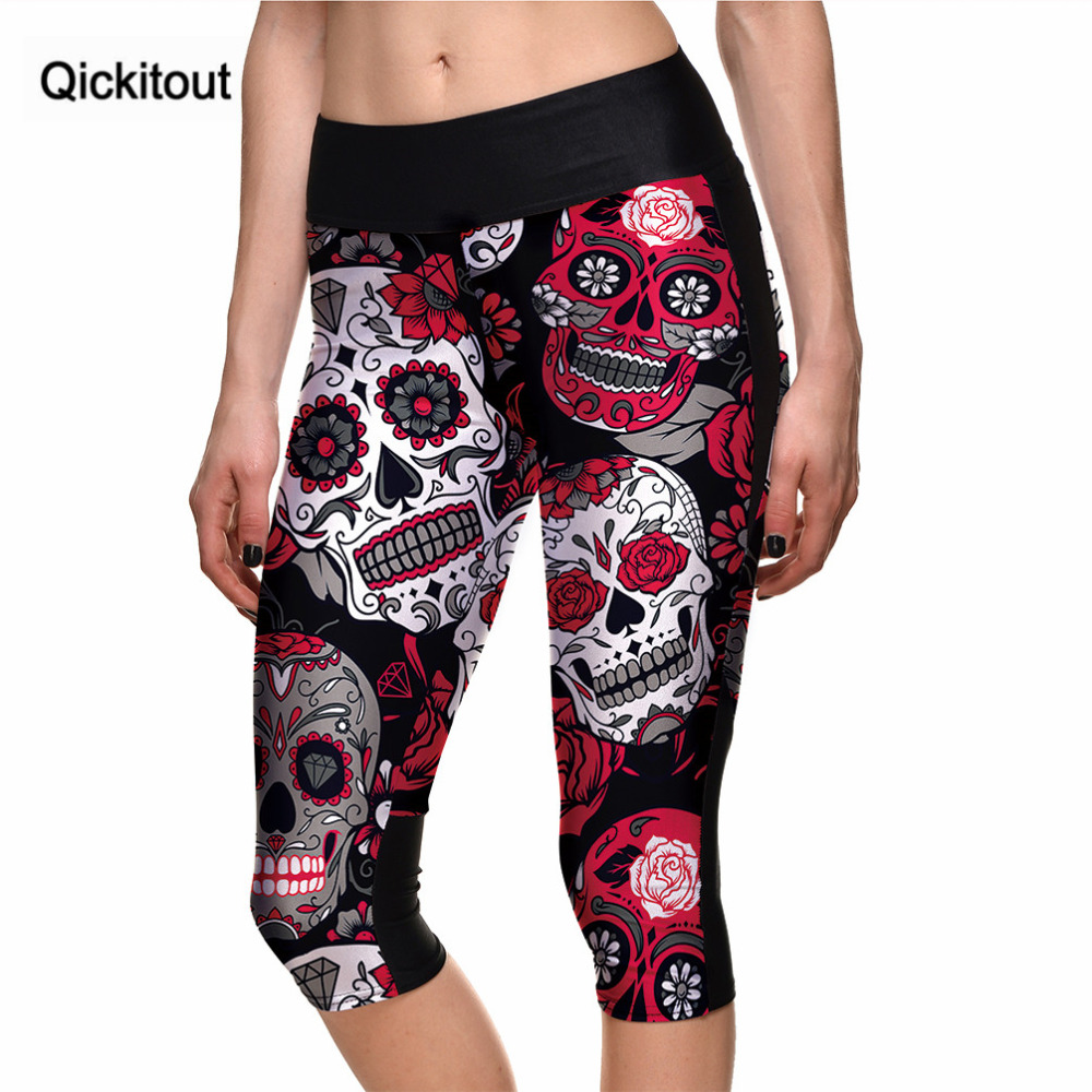 Qickitout Capril   Pants   Fitness Top New 2017 Women's Skull Red Flowers Cute   Capris     Pants   Leggings Breathable Quick Dry Trousers