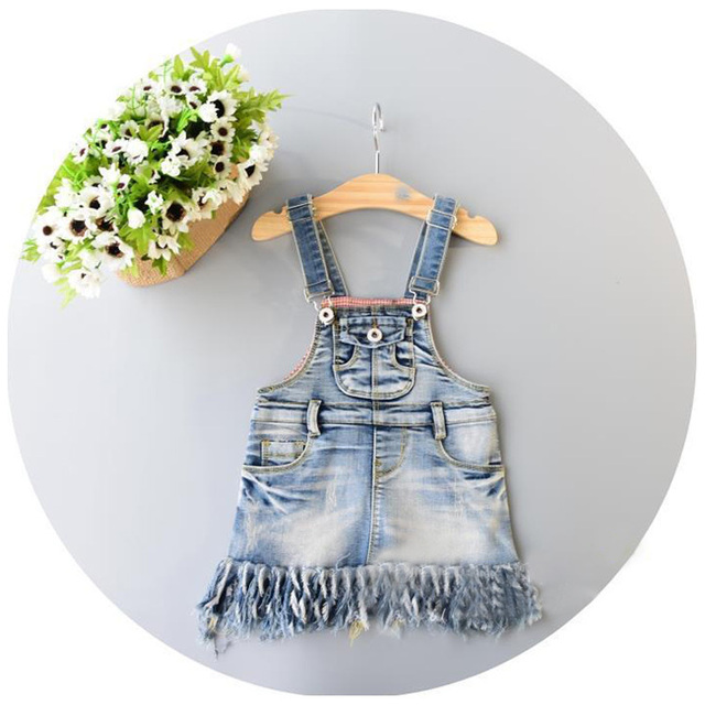 Korean New Pattern 2016 Spring Xia Tongzhuang Girl Baby Pocket Tassels Edge Cowboy Straps Skirt Girl Classic Work Clothes Skirt