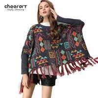 Cheerart Herbst Winter 2017 Frauen Poncho Vintage Quasten Mantel Strickwaren Dicken Losen Fransen Pullover Geometrische Drucken Pull Femme