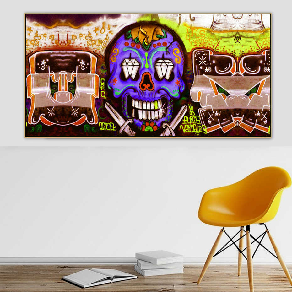 Amazing Skull Grafitti Street Art Banksy Figure Canvas Painting Poster Print POP Wall Art Pictures for Living Room Home Decor
