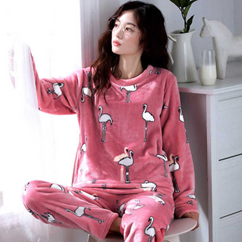293fc5c6c8c Women s Pajamas Autumn and Winter Pajamas set Women Long Sleeve Sleepwear  Flannel Warm Lovely Tops +