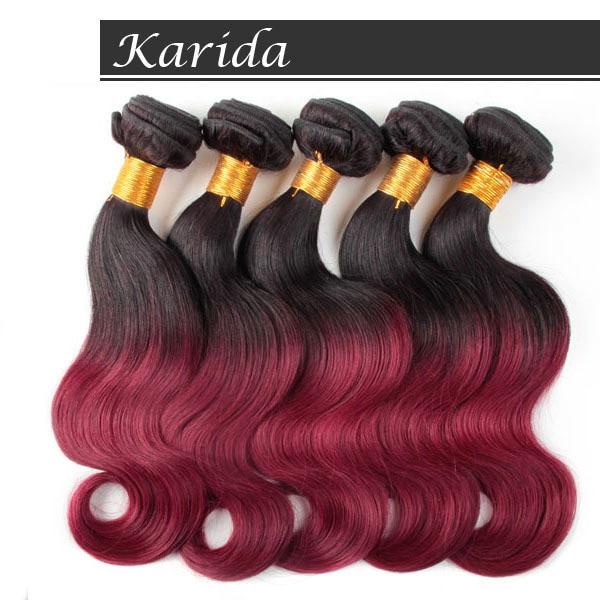 5bundles Ombre Dark Red Brazilian Hair Body Wave Human Hair