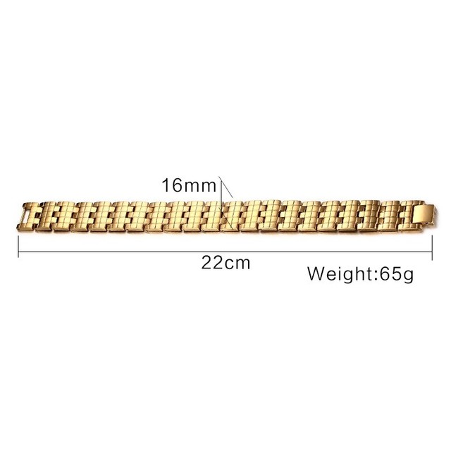 Vnox Magnetic Health Care Bracelet Bangle  Gold Plated Men's Chain Jewelry With Magnets