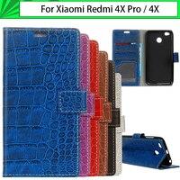 JURCHEN Case For Xiaomi Redmi 4X 4X Pro Case Cover Soft Retro Crocodile Pattern Leather Flip