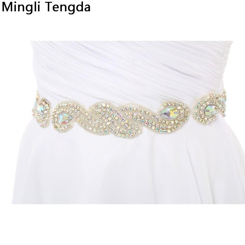 Mingli Tengda nouvelles robes de Demoiselle d'honneur en mousseline de soie ivoire Robe de Demoiselle d'honneur plissée avec des ceintures de perles chérie Robe Demoiselle D'honn - 6