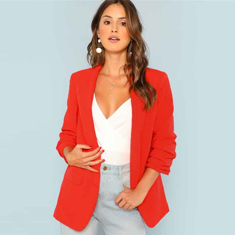 COLROVIE Red Solid Workwear Shawl Collar Women Blazer Feminino 2018 New Ladies Blazer Office Suit Elegant Women Outwear Coat 5
