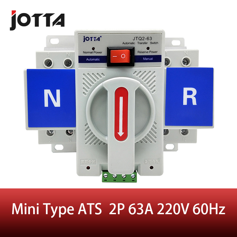 2P 63A 230V MCB type white color Dual Power Automatic transfer switch ATS Rated voltage 220V /380V Rated frequency 50/60Hz image