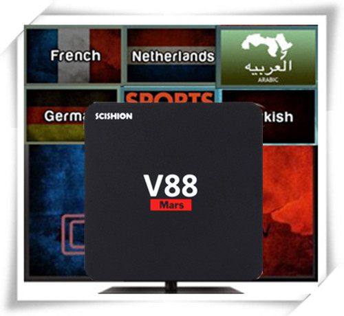 SCISHION V88 Mars II Android 7.1 BOX with French Arabic USA UK CA Poland Belgium Netherland Turkey Portugal IPTV VOD scishion v88 mars ii smart tv box