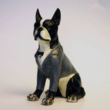 Cute Elegant Gentleman Dog Creative Personality French Bulldog Resin Ornaments Figurine Statue Artificial Best Gift