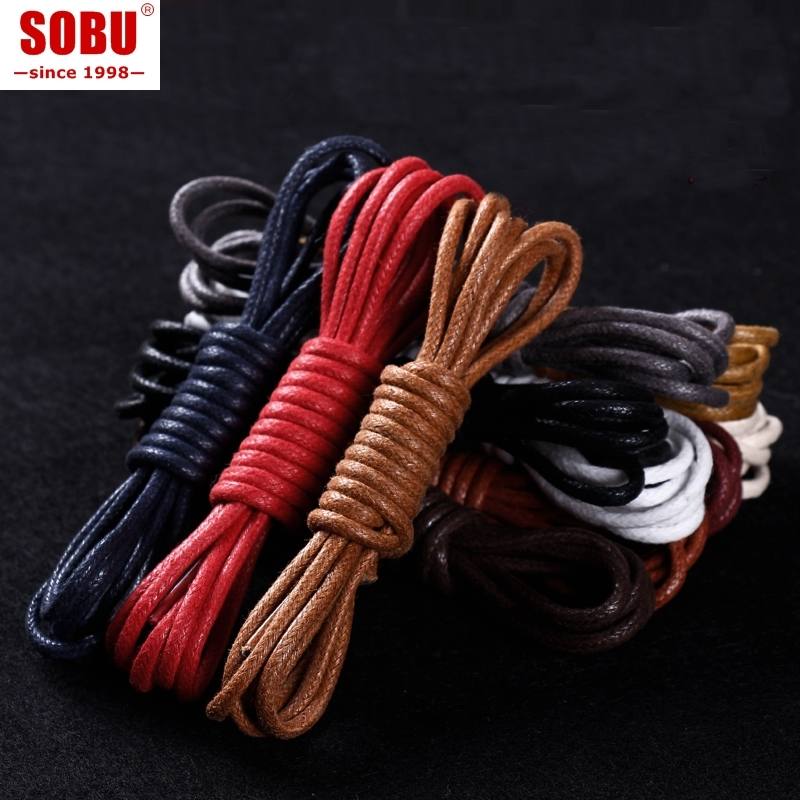 Men Women Leather Shoelaces Round Waxed Casual Shoes Lace Rope Fine England Brown Cotton And Linen Shoes Lace