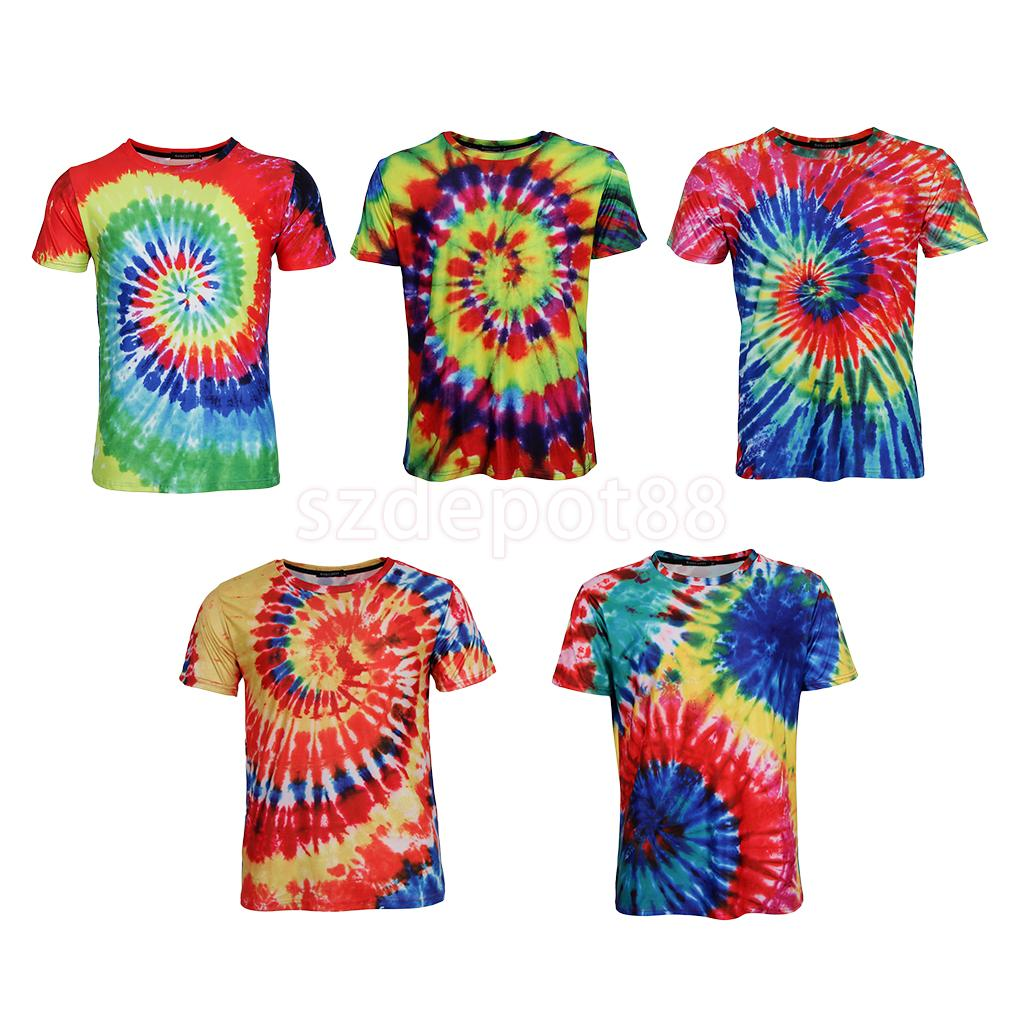 Tie Dye Graphic T Shirt Short Sleeves Casual Top Hippie for Youth and Men