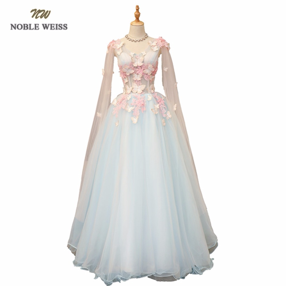 NOBLE WEISS Sexy Sky Blue   Prom     Dresses   Appliques Flower Pleat Ball Gown V-Neck Lace-up Back Organza   Prom   Gown