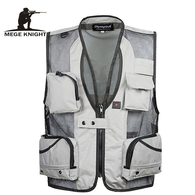 Solid Color Summer Waterproof Vest Casual Camouflage Waistcoat Vest for Men's Photographer Sleeveless Jackets