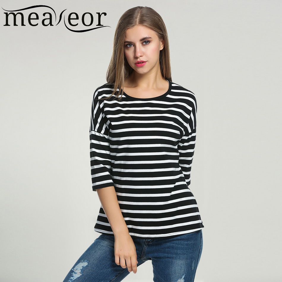 Meaneor Women Striped T-shirts 2017 Summer 3/4 Batwing Sleeve Black White Tops Casual O-Neck Tshirts For Women Loose Fit Top Tee