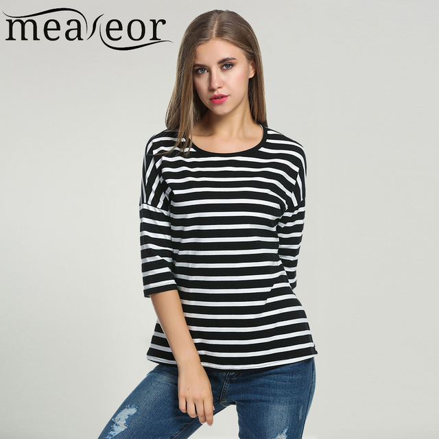 1e6a57a7c99a86 Meaneor Women Striped T-shirts 2018 Summer 3 4 Batwing Sleeve Black White Tops  Casual O-Neck Tshirts For Women Loose Fit Top Tee